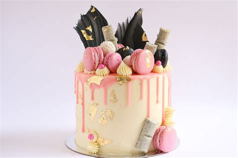 Cak New Black loaded pink gold and black cake drip tutorial rosie s