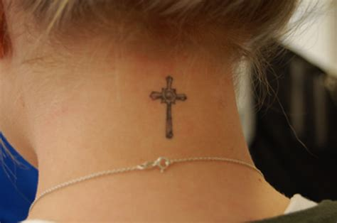 cross on back of neck tattoo small back of neck tattoos for designs