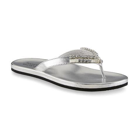 jeweled flip flop sandals tropical escape s flamingo silver jeweled flip flop