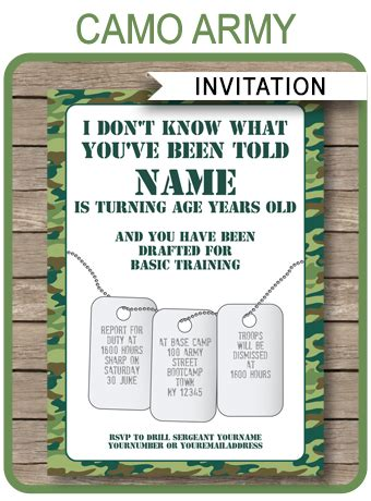Camo Invitations Template Army Birthday Party Camouflage Invitations Template Free