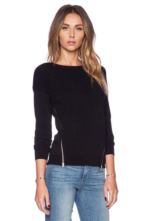 Sweater Zipper autumn zipper texture sweater in black lyst
