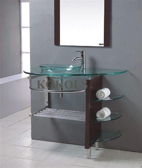glass bathroom cabinets modern modern bathroom glass bowl clear vessel sink wood vanity w shelfs faucet 25 wood vanity