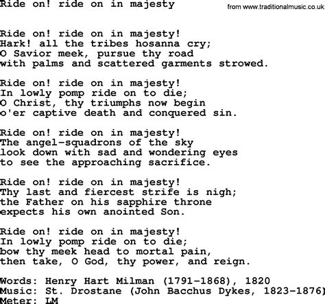 song on lent hymns song ride on ride on in majesty lyrics