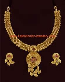 antique design designer indian antique gold necklace set in trendy design