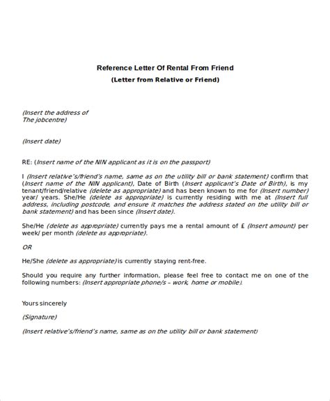 Employment Letter Rent 8 Rental Reference Letter Templates Free Sle