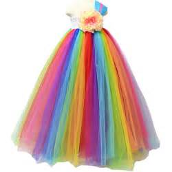 1 8years girls rainbow tutu dress mesh tulle flower