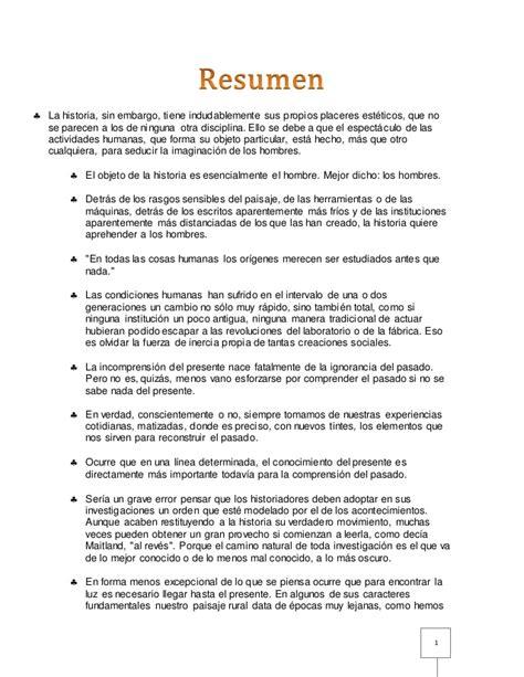 5 Resumenes De Libros Cortos by Resumen Libro Quot Introducci 243 N A La Historia Quot De M Bloch