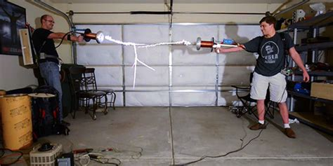 Tesla Coil Fight Tesla Coil Gun Duel Is Seriously Huffpost