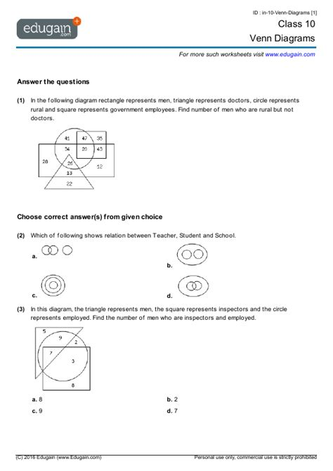 diagram math problems 6th grade math venn diagram worksheet venn diagram animals in water and on land myteachingstation math