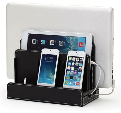 home charging station faux leather multi device charging station contemporary charging stations
