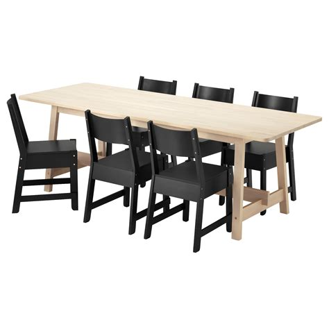 norr 197 ker norr 197 ker table and 6 chairs white birch black 220