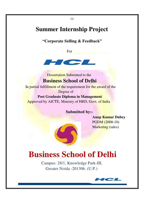 Mba Marketing Internship Project Reports by Project Report Marketing At Hcl