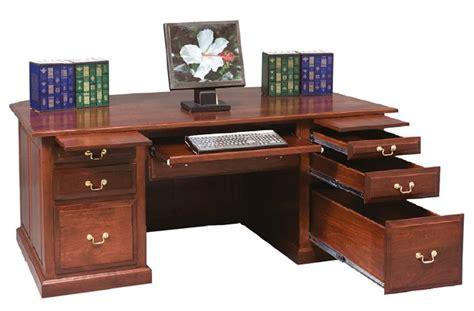 Amish Executive Desk by Amish Executive Desk With Raised Panel Back
