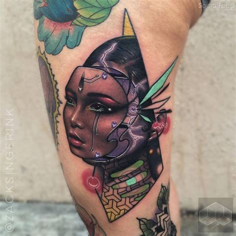 tattoo new school woman new school style colored tattoo of fantasy robot woman