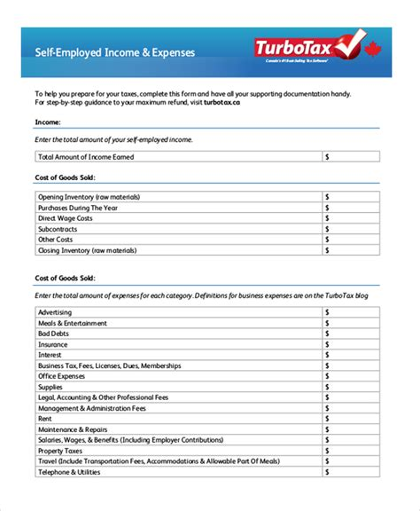 Self Employed Business Expense For Mba How by Sle Self Employment Forms 10 Free Documents In Word Pdf