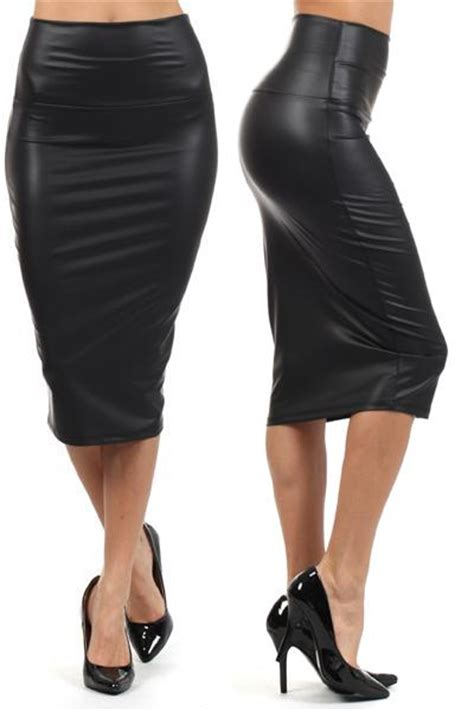 leather high waisted pencil skirt redskirtz