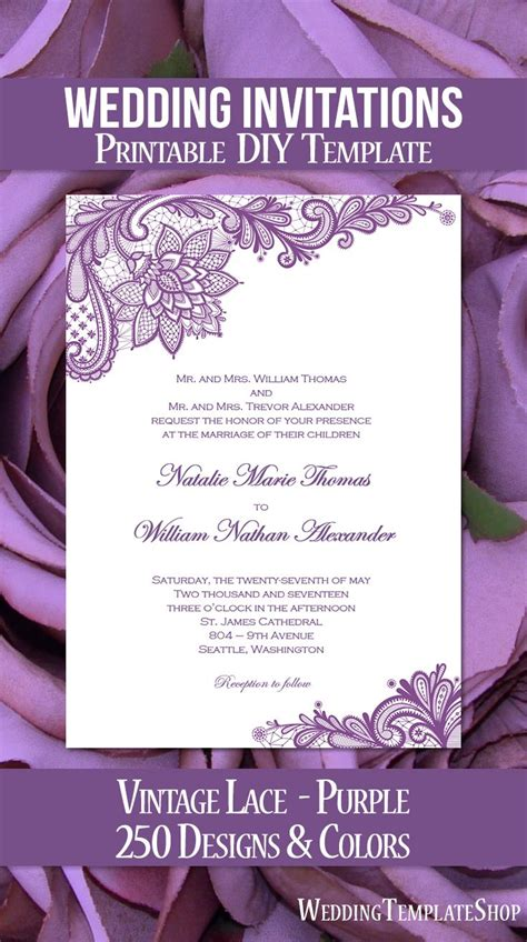 vintage lace wedding invitation purple   purple