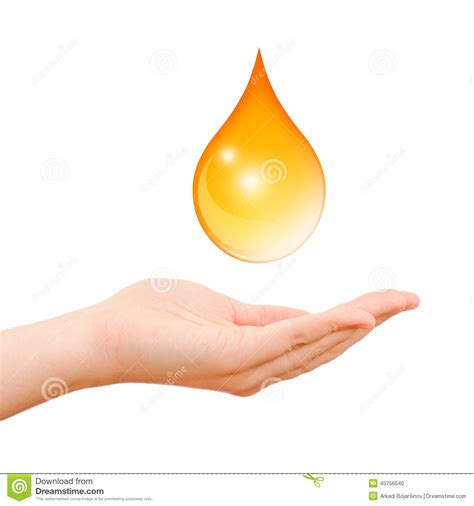 drop in hand hand care symbol with oil drop stock illustration image