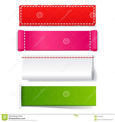 set layout to null template realistic fabric labels stock vector image