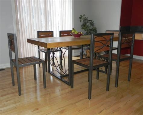 Furniture Large Wood Dining Table Legendclubltd Wood And Metal Dining Room Table Sets