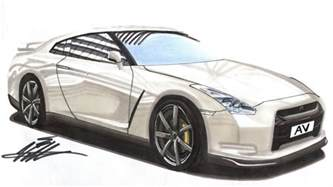 Nissan Gtr Drawing Realistic Car Drawing Nissan Gtr Time Lapse