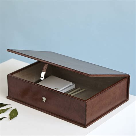 www box personalised leather box file by of