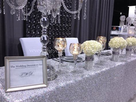Wedding show booth decor, Silver, crystal & white wedding