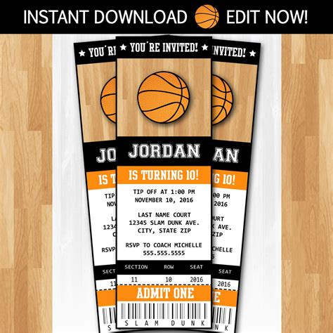 Basketball Invitations Diy Instantly Downloadable And Basketball Ticket Template Free