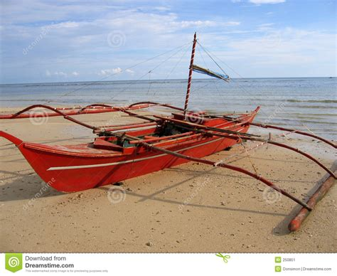 small fishing boat in the philippines red banca outrigger fishing boat philippines stock image