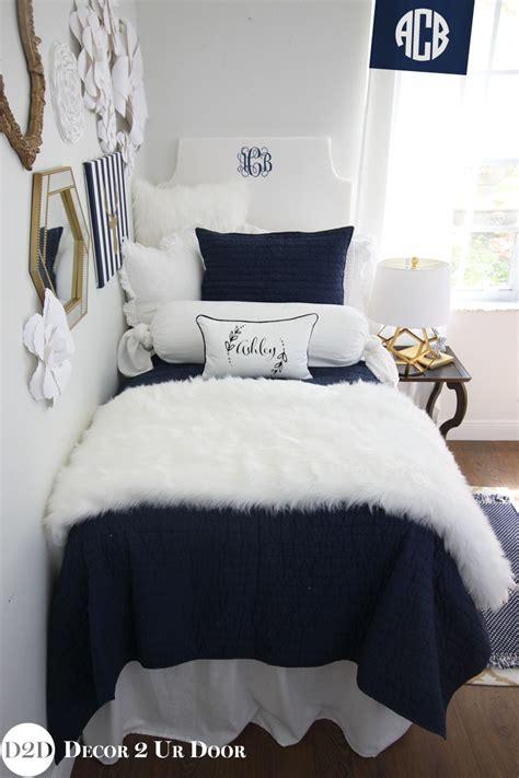 Navy And White Coverlet Navy White Fur Designer Bedding Set Decor 2 Ur Door