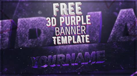 Free 3d Purple Banner Template Photoshop Cinema 4d 3d Banner Template