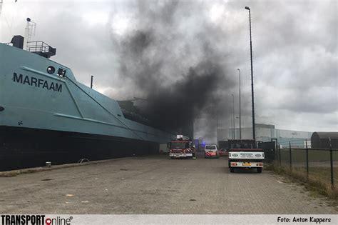 schip brand transport online brand op het schip de marfaam in