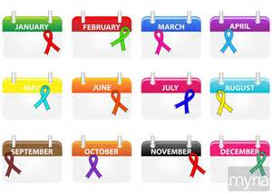 awareness months and colors what health awareness month is it here s a calendar myria