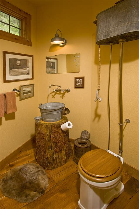 Powder Room Wall Decor Ideas by High Tank Toilet Powder Room Rustic With None