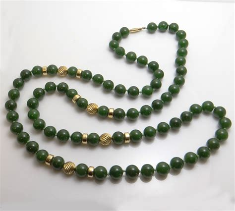 antique jade bead necklace vintage 14kt gold jade bead necklace fortunoff new york