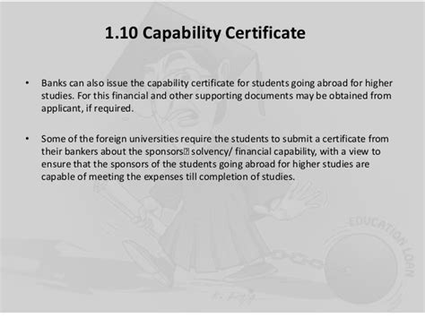 Financial Capacity Letter Education Loan Process In India
