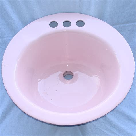 retro pink cast iron drop in bathroom sink bowl 17x17x8 34