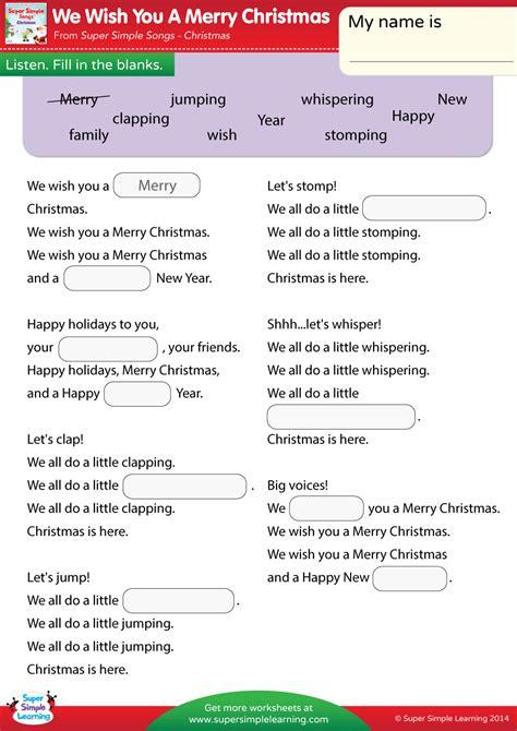 merry christmas worksheet fill   blanks super simple