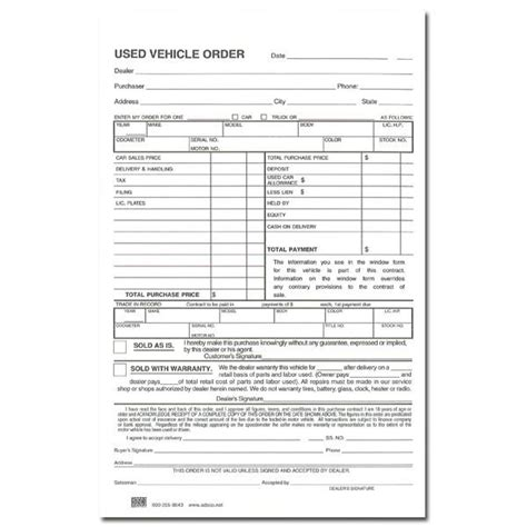 vehicle order form used vehicle order book adsco companies