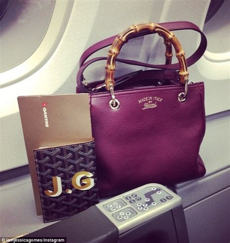 Handbags Instagram gomes flaunts designer bags from class seat on way home to australia daily mail