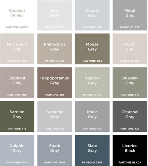 shades of gray colors colour names grey google search colour pinterest