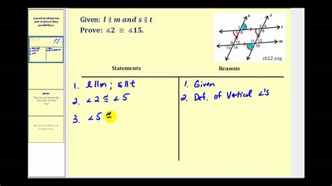 Parallel Line Proofs Worksheet by Proof Involving Two Pair Of Parallel Lines
