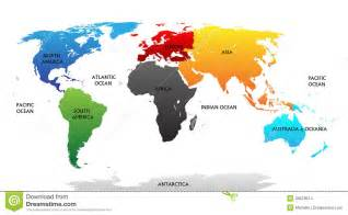 Labelled world map continents world map continents