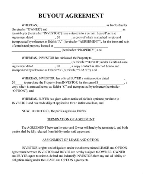 buyout agreement template sle real estate agreement form 8 free documents in pdf