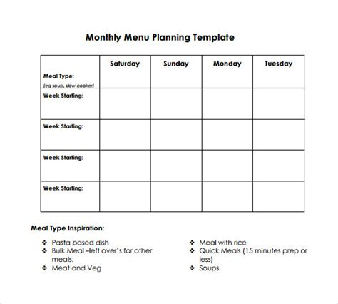 downloadable will template 10 sle menu planning templates to sle
