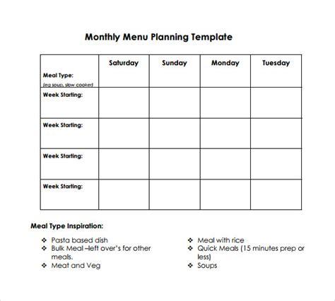Sample Menu Planning Template   9  Free Documents in PDF, Word