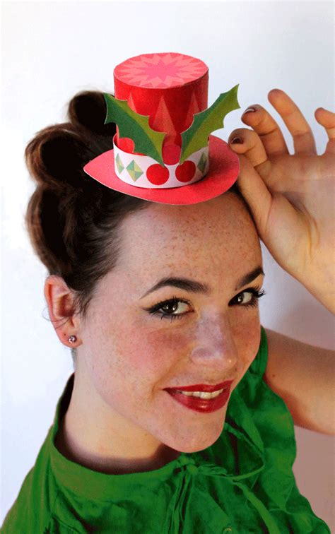 holiday festive paper hats free no sew mini top hat