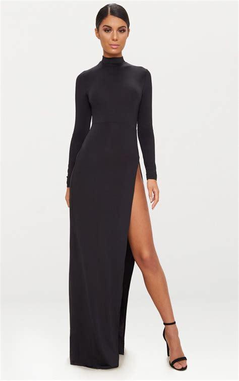 dress with black sides black side split sleeve maxi dress