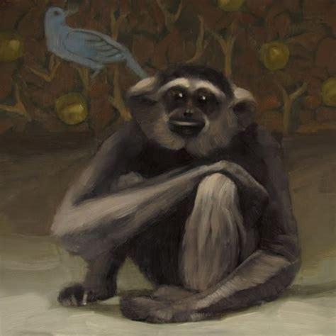 painting of zoo animals monkey and bluebird cleveland zoo animal original