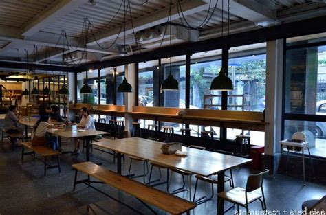 canteen decoration modern canteen interior with polished wooden tables and